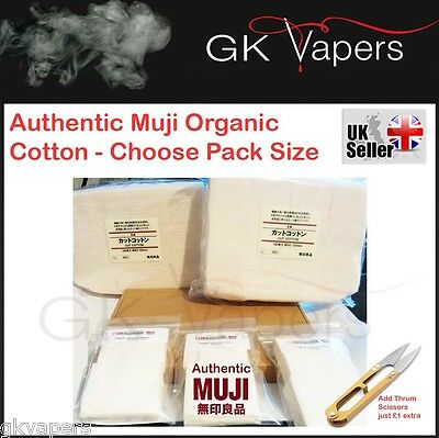 Genuine Muji Cotton Pads, untreated organic great for wicks, choose pack size