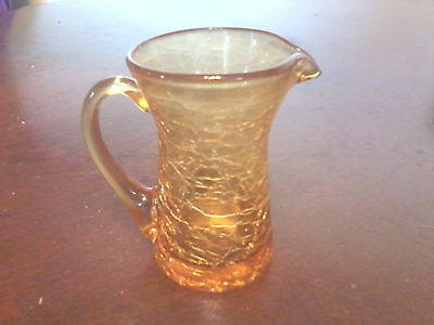 Mini Amber Crackle Glass Pitcher