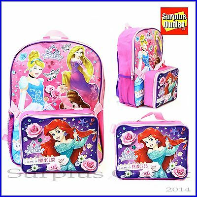 "Little Mermaid 16"" Large School  Backpack With Detachable Lunch Bag Princess"