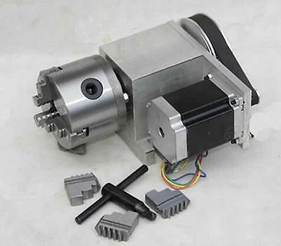 CNC Router table Rotary 4th tailstock A axis 80MM 3 Claw jaw chuck Steel Milling