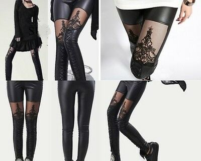 Sexy Wetlook Leggings 34-38 Lack Leder Optik Spitze Schwarz Leggins Gothic Neu