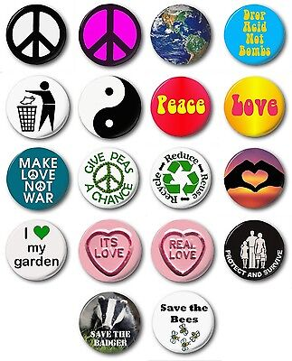 "PEACE & LOVE  (Various Designs) - 1"" / 25mm Button Badge - Novelty Environment"