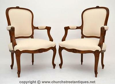 Pair Of Antique French Walnut Upholstered Salon Armchairs