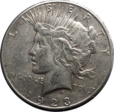 1923S Peace Silver Dollar United States of America Large Coin with Eagle i50198