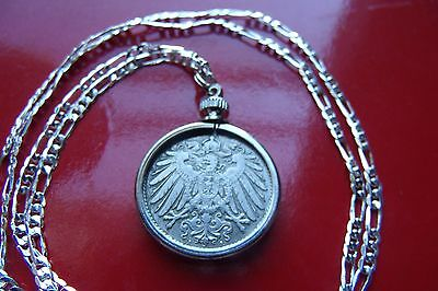 "1890-1916 IMPERIAL GERMAN EAGLE COIN DISPLAYED on a 30"" 925 Sterl Silver Chain"