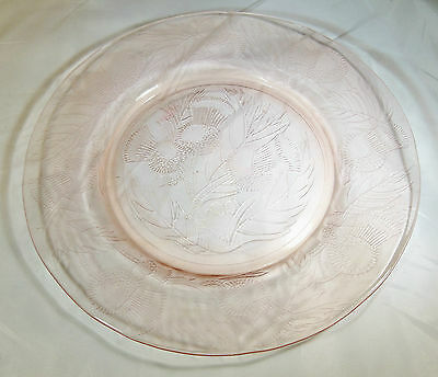 """MACBETH-EVANS GLASS CO. THISTLE PINK 8"""" DIAMETER LUNCHEON or SALAD PLATE!!"""