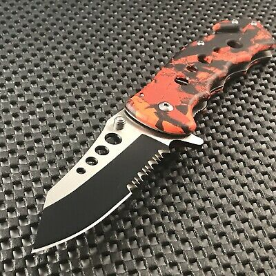 TAC FORCE Spring Assisted Open Red Camo Outdoor Tactical Rescue Pocket Knife