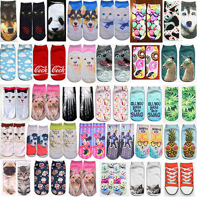 Casual Men Women Fashion Low Cut Ankle Socks Cotton 3D Printed Animal Pattern