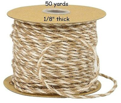 "50 Yards Thin 1/8"" NATURAL & WHITE JUTE / Twine for crafts, gifts - (150 feet)"