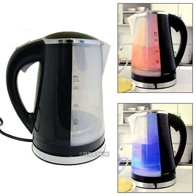 Black 1.7 Litre 2200W Dual Illumination Cordless Jug Kettle Fast Boil Electric