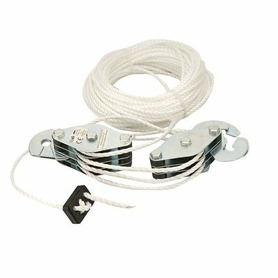 180kg Lifting Cable Cargo Pulley Set & 19.8m Quality Strong Poly Rope Warranty