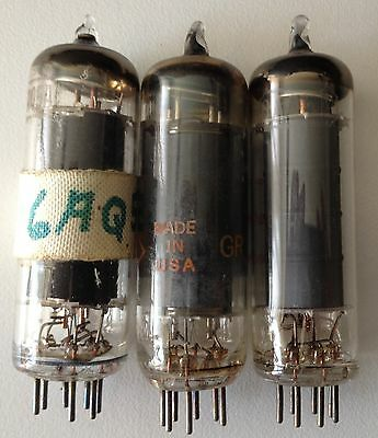 Lot Of 3 Radio Vacuum Tubes - Mixed Brands - Type 6Aq5 - All Tested 80%