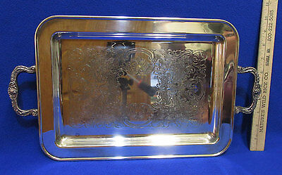 Vintage Silverplate Serving Tray Platter w/ Handles Footed Scroll Ornate Design