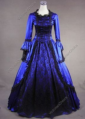 Marie Antoinette Renaissance Dark Witch Gown Reenactment Halloween Costume 142