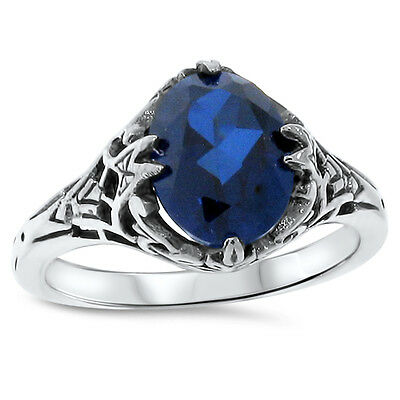Blue Lab Sapphire Antique Deco Style .925 Sterling Silver Ring,             #448