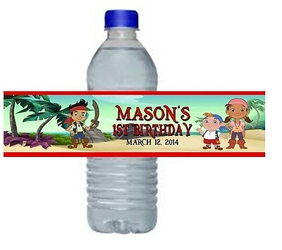 Jake Neverland Pirates Birthday Party Water Bottle Labels Favors Personalized