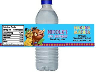 Lion King Birthday Party Water Bottle Labels Favors Personalized