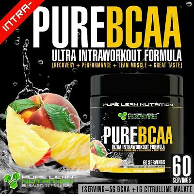 Pure Bcaa Intra Workout 60 Serves Peach Mango Branch Chain Amino Acids Recovery