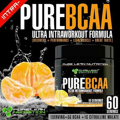 Pure Bcaa Intra Workout 60 Serves Mandarin Branch Chain Amino Acids Recovery