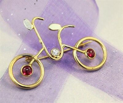 "Gorgeous Yellow Gold ""GEM SET BICYCLE BROOCH / PIN"" Guaranteed 18ct Yellow Gold"
