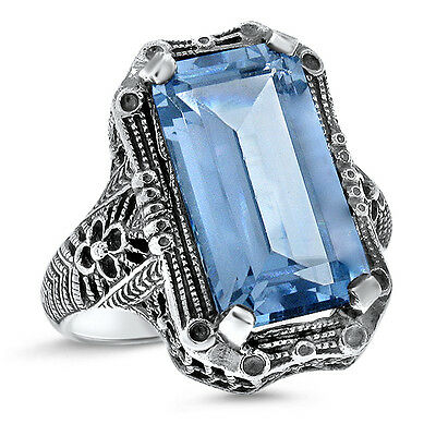 8 Ct. Sim Aquamarine Antique Art Deco Style .925 Sterling Silver Ring,      #457