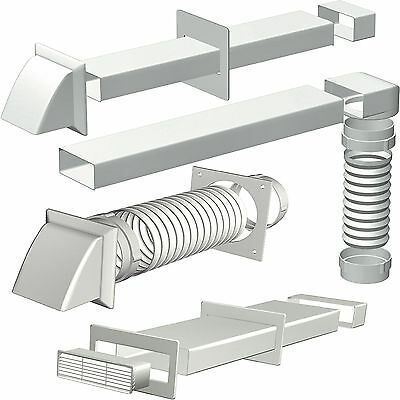 Cooker Hood Extractor Ducting Kits & Connectors 125mm diameter, 150-204mm Chanel