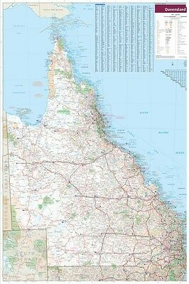 (LAMINATED) QUEENSLAND STATE MAP POSTER (70x100cm) QLD LARGE ROAD GUIDE TRAVEL