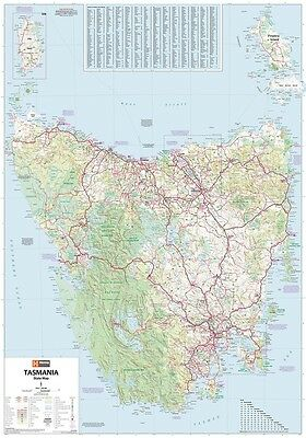 (LAMINATED) TASMANIA STATE MAP POSTER (70x100cm) LARGE ROAD GUIDE TRAVEL PICTURE