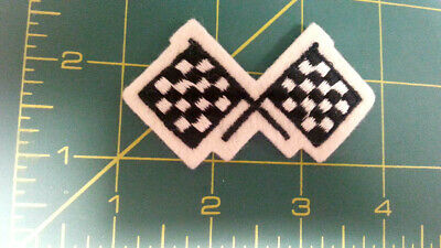 New Sew On Patch - Crossed Checkered Flags - can be sewn on hat or pocket area