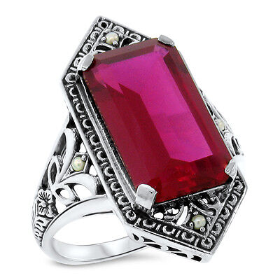 9 Ct. Red Lab Ruby Pearl Antique Victorian Design .925 Sterling Silver Ring,#473