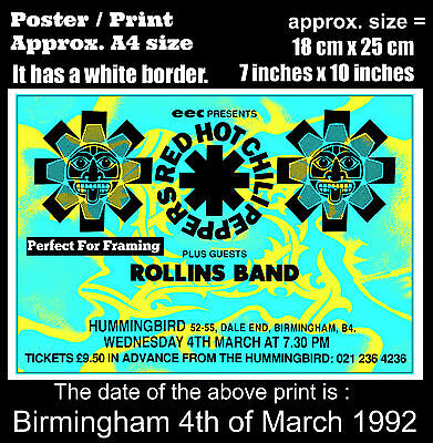 Red Hot Chili Peppers live concert Birmingham 4 March 1992 A4 size poster print