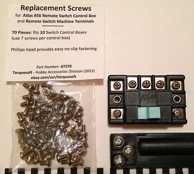 SCREWS for Atlas Remote Switch Control Box & Turnout TERMINALS 70pc 3-48 x 1/8""