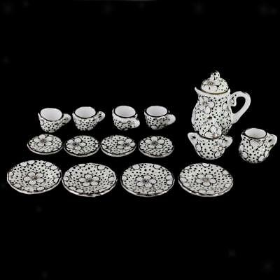 15pcs Dollhouse Miniature China Porcelain Coffee Tea Set Daisy & Dots Print