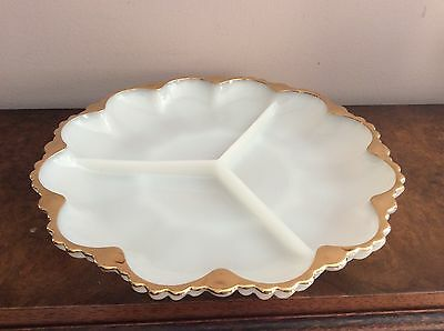 White Milk Glass (OPALINE) Gold Guild 3 Sections Divider Plate