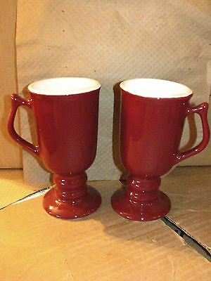 Hall China 2 Irish Mugs, Footed Mugs - Burgundy - New