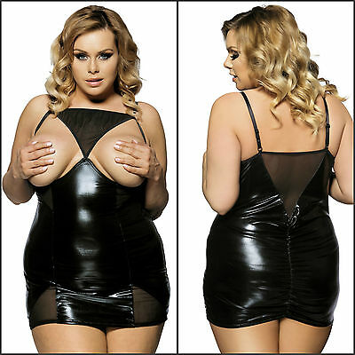 Plus Size Faux Leather Mesh Black Mini Open Cup Under Wired Ruffle Camisole 8-22