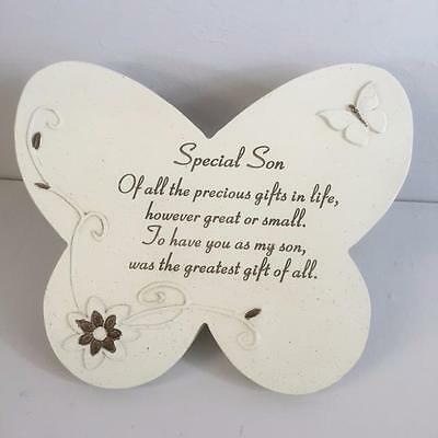 SPECIAL SON Grave Memorial BUTTERFLY STONE Plaque Ornament Garden Home Tribute