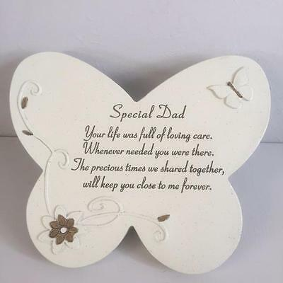 SPECIAL DAD Grave Memorial BUTTERFLY STONE Plaque Ornament Garden Home Tribute