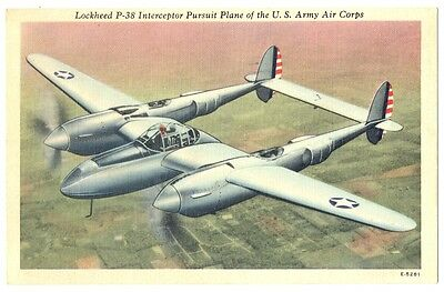US Army Air Force Lockheed P-38 Pursuit Plane Postcard 1943