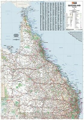 (Laminated) Super Map Of Qld Queensland State (100X140Cm) Australia Giant Poster