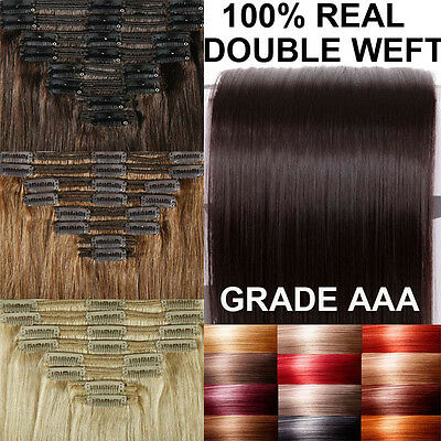 Double Weft Clip In Remy Human Hair Extensions Full Head Thick 150g-200g US A015