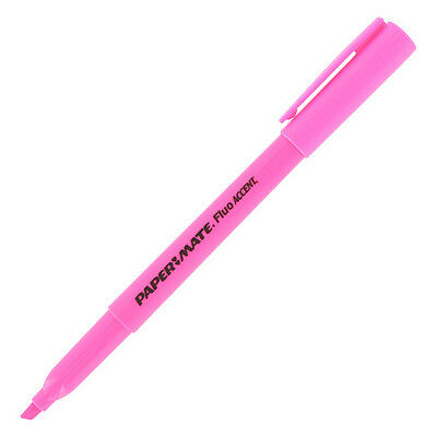 Paper Mate Intro Micro Chisel Tip Highlighters, Fluorescent Pink, 2 Dozen