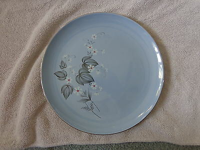 "Taylor-Smith Taylor 9 1/4"" blue dinner plate silver trim 4-58-3 (gw83)"