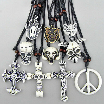 10PCS Tribal Style Hand-carved Skull Cross Animal Lucky Necklace Mixed Wholesale
