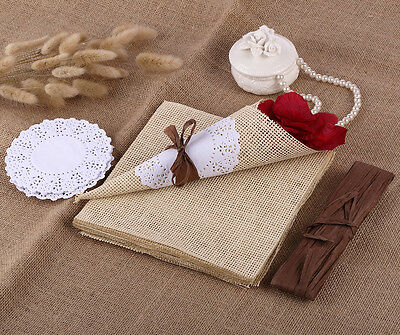 20 x Vintage Rustic Confetti Cone with Paper Burlap Doily Paper Wedding Party