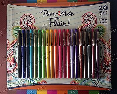 Paper Mate Flair Medium Point Guard Felt Tip Pens No Bleed Assorted Colors 20 Pk