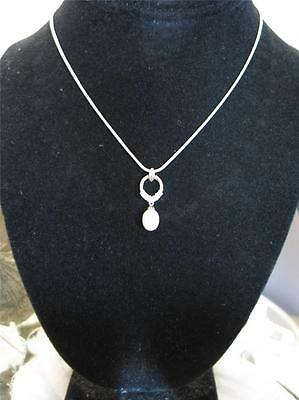 "1"" Cultured 9 X 8Mm Natural Freshwater Pearl Pendant & 16"" Silver Snake Chain"