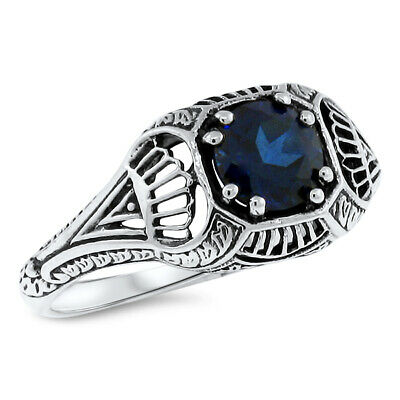 Royal Blue Lab Sapphire Antique Art Deco Design .925 Sterling Silver Ring,  #487