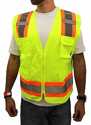 HIGH VISIBILITY Surveyor Solid lime Two Tones Safety Vest, ANSI/ ISEA 107-2010