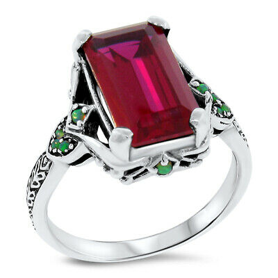7 Ct Red Lab Ruby & Opal Victorian Antique Style .925 Sterling Silver Ring, #492